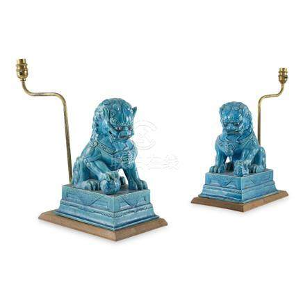 PAIR OF TURQUOISE GLAZED BUDDHIST LIONS CONVERTED INTO LAMPSQING DYNASTY, 19TH CENTURY each lion
