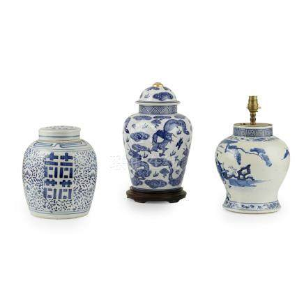 BLUE AND WHITE BALUSTER JAR CONVERTED INTO A LAMPKANGXI MARK BUT 19TH CENTURY painted with three