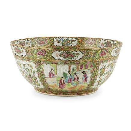 LARGE CANTON FAMILLE ROSE PUNCH BOWLQING DYNASTY, 19TH CENTURY enamelled in conventional fashion