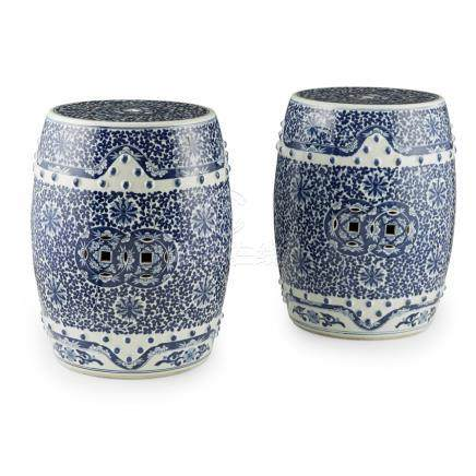 PAIR OF BLUE AND WHITE GARDEN SEATSREPUBLIC PERIOD each of barrel form, cut with cash-patterned