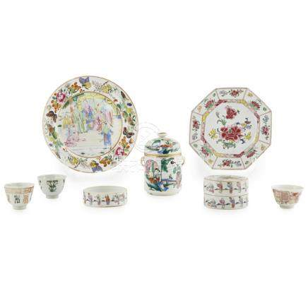 COLLECTION OF MISCELLANEOUS FAMILLE ROSE PORCELAIN19TH/20TH CENTURY comprising: two famille rose '