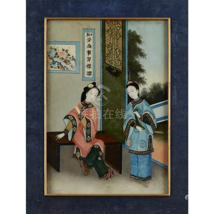 REVERSE GLASS PAINTINGLATE 19TH/EARLY 20TH CENTURY painted with two beauties in an open room looking