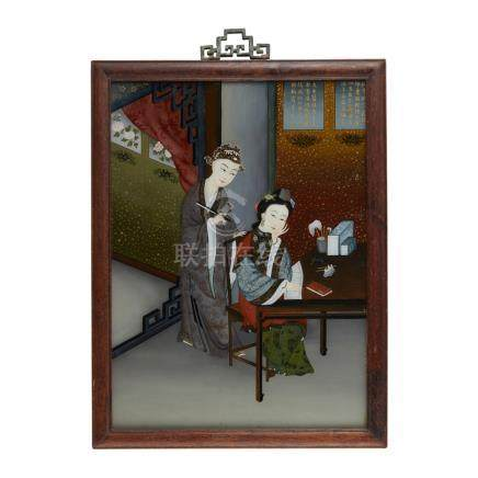 SET OF THREE REVERSE GLASS PAINTINGSMID 20TH CENTURY each depicting a beauty seated at leisure