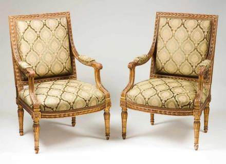 A pair of fauteuils à la reine Carved and gilt wood France, 18th century (upholstery of later date,