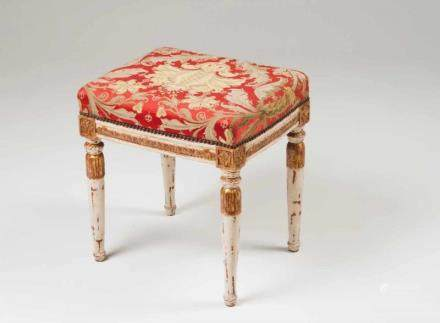 A Louis XVI stool Painted wood Carved and gilt decoration France, 18th century (small defects;