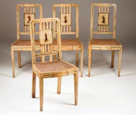 A pair of D. Maria style chairs Lacquered and painted wood depicting feminine figures and scrolls