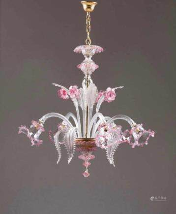 A five-light chandelier Murano glass Molded decoration with leaves Italy, 20th century Height: 73