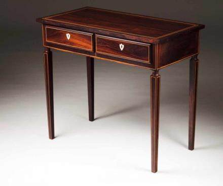 A pair of D. José (1750-1777)/ D. Maria (1777-1816) tables Rosewood Inlaid friezes With two drawers