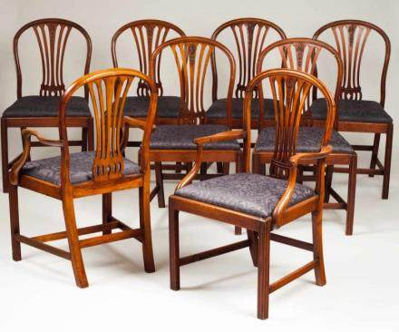 A set of eight D. Maria style chairs Brazilian mahogany Two armchairs Damask silk upsholstery