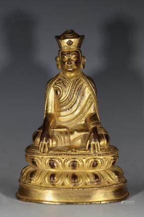 清代铜鎏金上师像