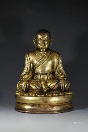 十九世纪:藏传鎏金上师像