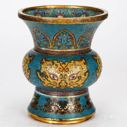 CHINESE CLOISONNE ENAMEL FOOLION MASK SPITTOON QING DYNASTY