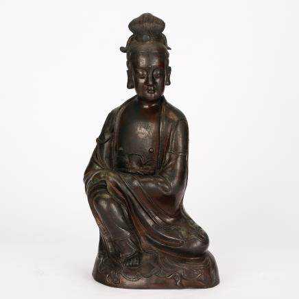CHINESE BRONZE SEATED GUANYIN QING DYNASTY