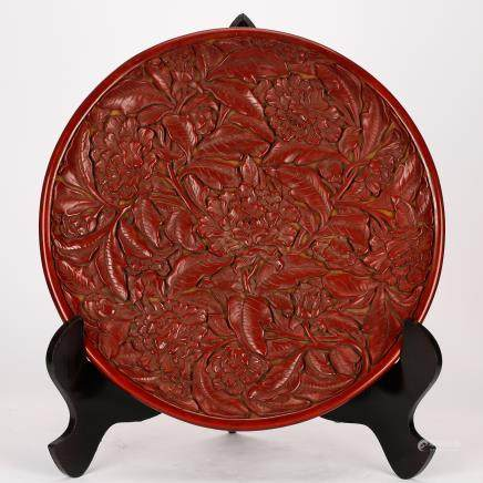 CHINESE CINNABAR LACQUER FOLIAGE CHARGER QING DYNASTY
