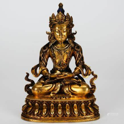 CHINESE GILT BRONZE FIGURE OF GUANYIN QING DYNASTY