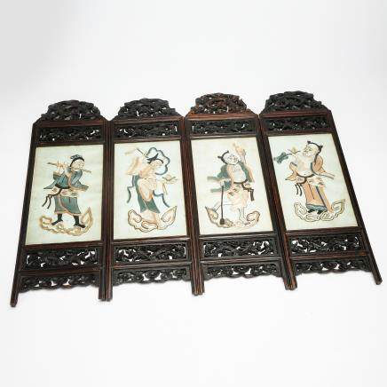 CHINESE FOUR SCREEN TABLE SCREEN QING DYNASTY