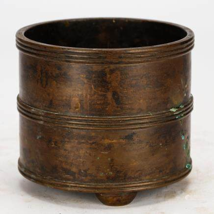 CHINESE BRONZE CYLINDRICAL CENSER QING DYNASTY