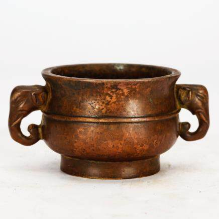 CHINESE BRONZE ELEPHANT EAR CENSER QING DYNASTY