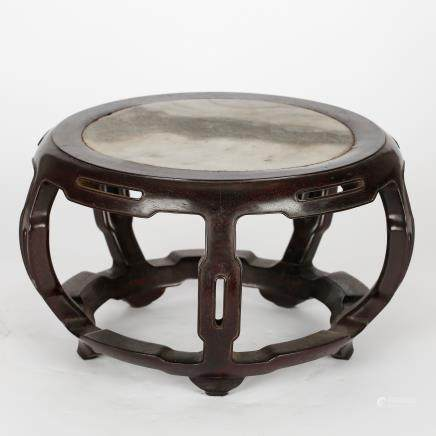 CHINESE ZITAN WOOD PLANTER'S STAND QING DYNASTY