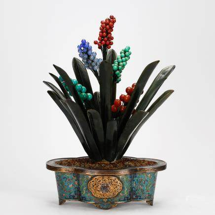CHINESE IMPERIAL CLOISONNE PLANTERS WITH JADE, QING DYNASTY