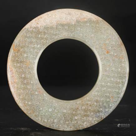 CHINESE ARCHAIC JADE RING, HAN DYNASTY