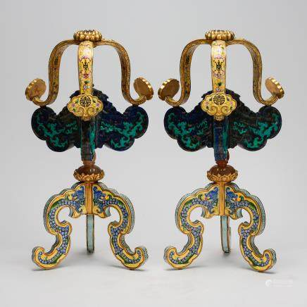 CHINESE IMPERIAL BRONZE ENAMEL HAT STANDS, QING DYNASTY