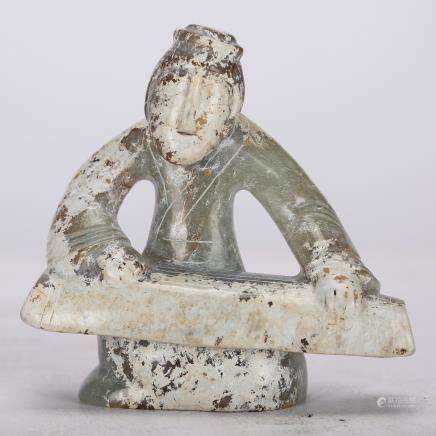 CHINESE ARCHAIC JADE FIGURE, QING DYNASTY