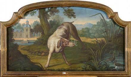 """Huile sur panneau """"Chien de chasse dénommé Framboise"""". Daté"""