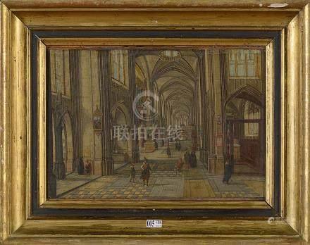 """Huile sur toile marouflée sur toile """"Intérieur de cathédrale"""