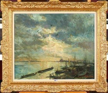 """Huile sur toile """"Le port d'Anvers"""". Signé en bas à droite A."""