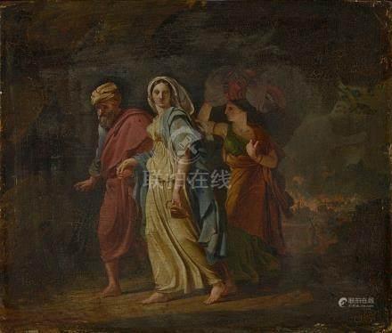 """Huile sur panneau de chêne """"Loth et ses filles fuyant Sodome"""