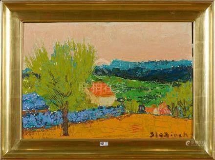 """Huile sur panneau """"Paysage provençal"""". Signé en bas à droite"""