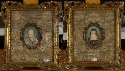 """Paire de broderies en soie """"Portraits de religieux"""" en forme"""
