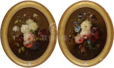 """Paire d'huiles sur toile marouflées sur toile ovale """"Bouquet"""