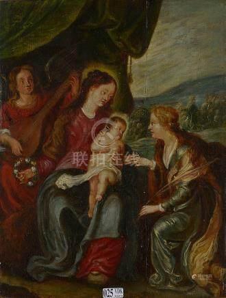 """Huile sur panneau de chêne """"Le Mariage mystique de sainte Ba"""