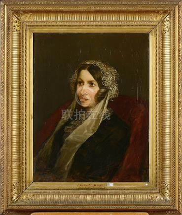 """Huile sur panneau d'acajou """"Portrait de dame"""". Signé en bas"""
