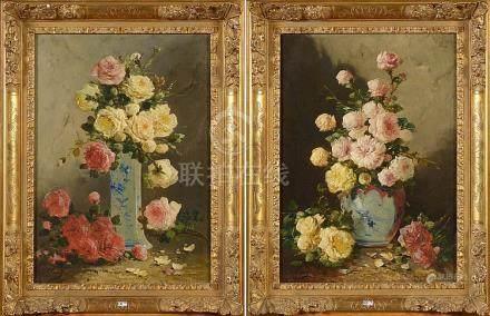 """Paire d'huiles sur toile """"Vases aux bouquets de roses"""". Sign"""