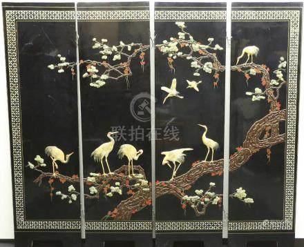 漆寶石鑲嵌4折屏風