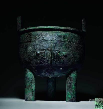 商青铜兽面纹三足鼎