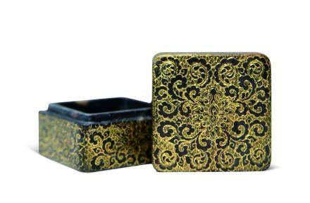 清寿山石金彩小印盒