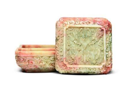 清寿山石雕云蝠纹方盒