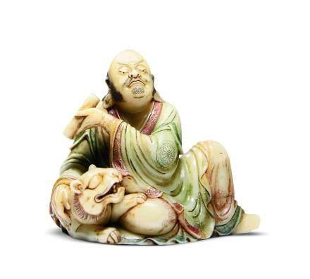 寿山石雕伏虎罗汉