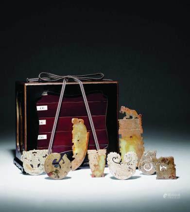 周-汉古玉五层珍藏盒共八件