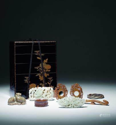 汉-元古玉收藏盒五层共八件
