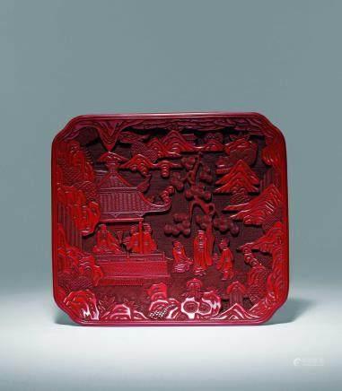 明十六世纪剔红雅集图萎角方盘