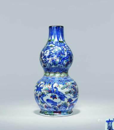 明万曆五彩芦雁图葫芦壁瓶