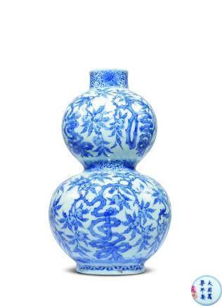 清青花福寿纹葫芦瓶