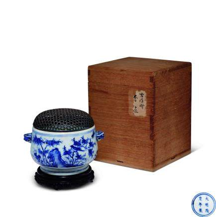 十七世纪青花兽耳香炉