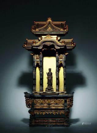 七-八世纪铜漆金观音立像木漆金佛龛