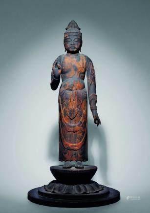 平安时代八-九世纪木雕立佛像